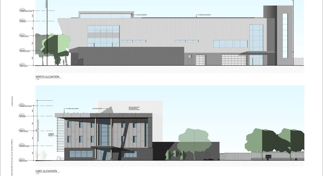 RCMP Facility Conceptual Design Exterior Elevations (North and East)