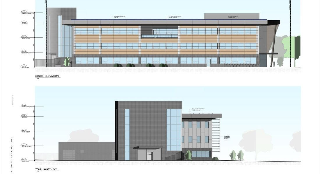 RCMP Facility Conceptual Design Exterior Elevations (South and West)