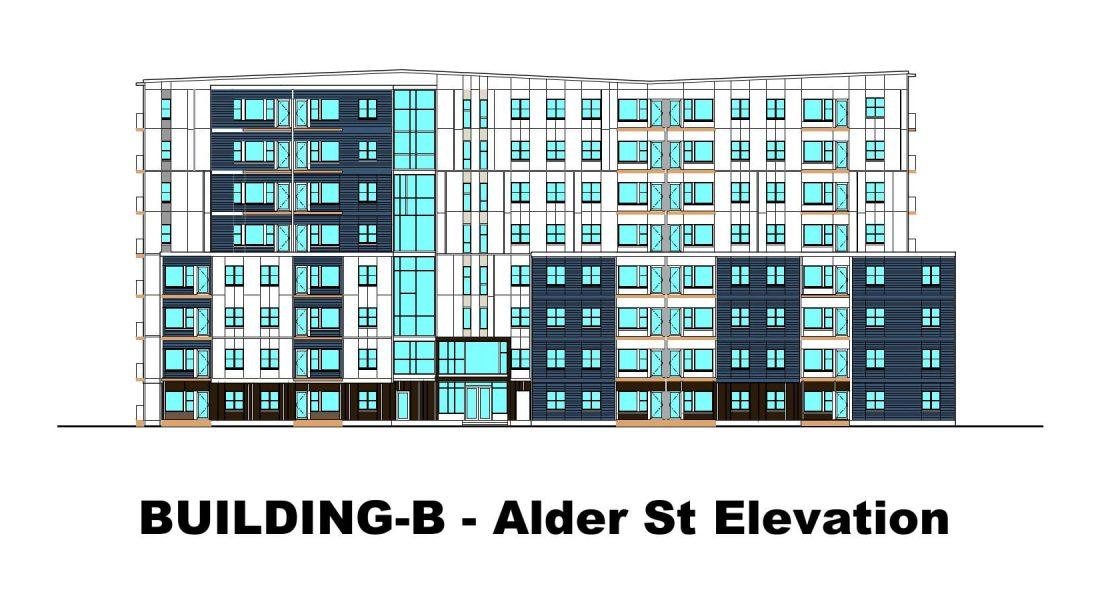 Rutledge Place Apartments - Building B, Alder st. Elevation