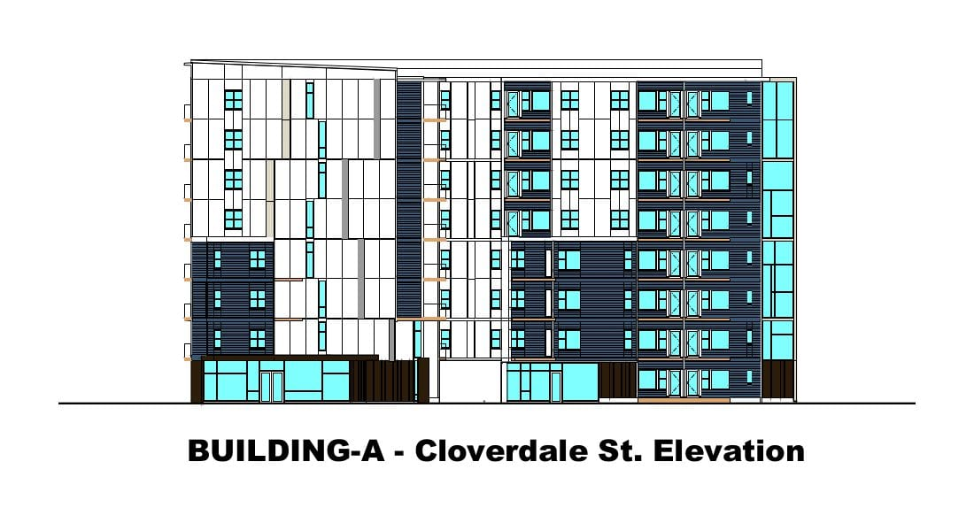 Rutledge Place Apartments - Building A, Cloverdale Ave. Elevation
