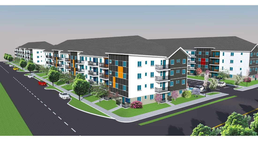 Drinkwater Apartments - North Cowichan, Elevation from Drinkwater & Ford St.